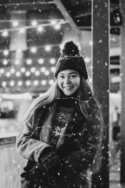 Portrait of Smiling Woman in Warm Clothing