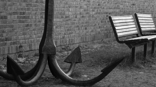 Free stock photo of anchor, bench, black and white