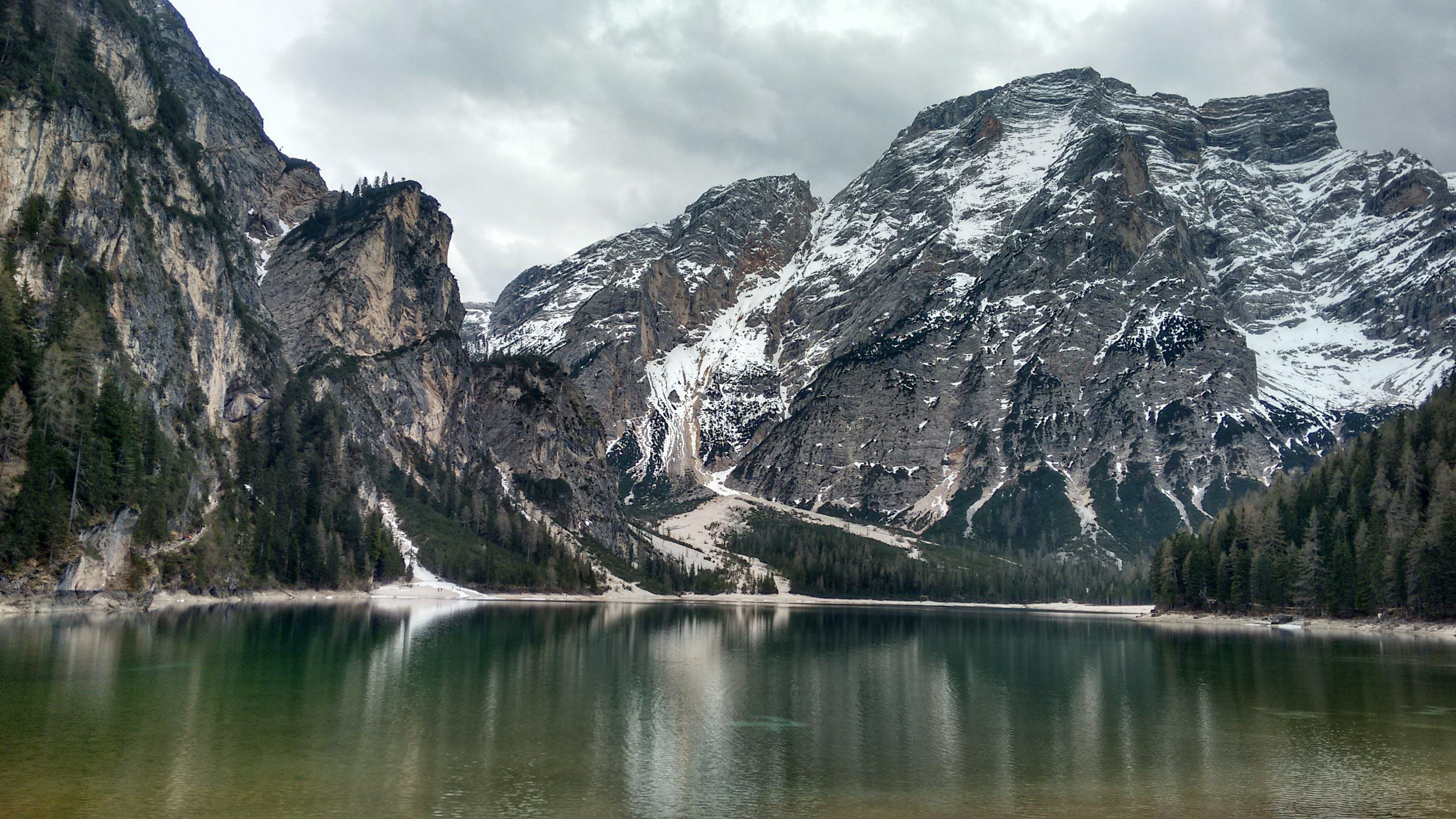 Snow Mountain Under Gray Cloudy Sky