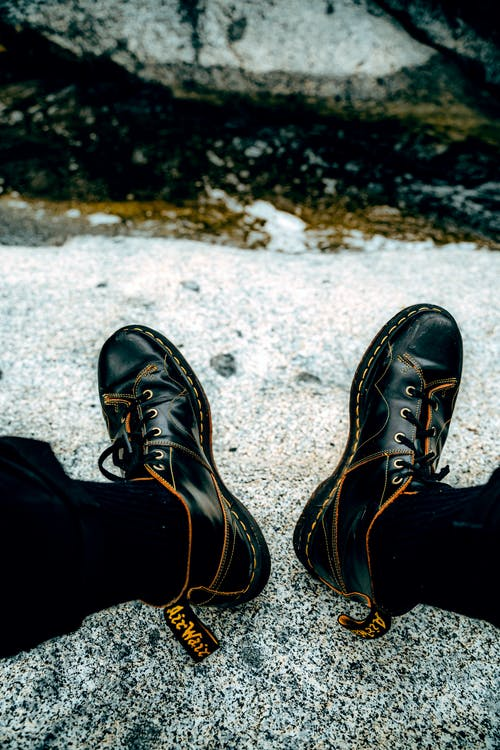 Close-Up View of Black Leather Boots