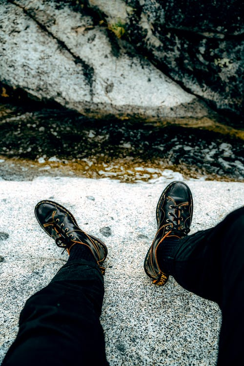 Close-UpView of Black Leather Boots