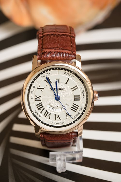 Copper Gold Cartier Brand Watch with Brown Leather Crocodile Strap