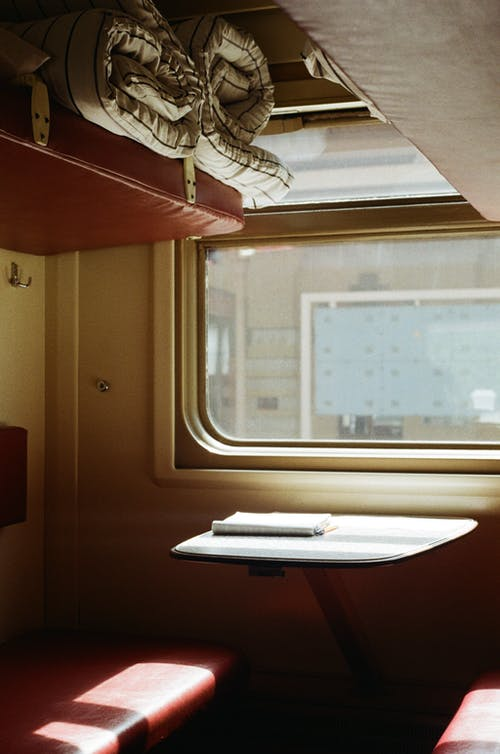 Inside Oldfashioned Train Compartment
