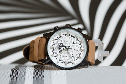 Montblanc Unisex Watch with Black and White Arabesque Pattern on Dial