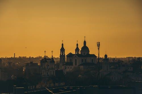シティ, タワー, ドーム, 夕暮れの無料の写真素材