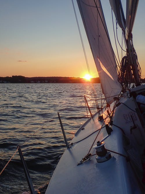 Free stock photo of beautiful sunset, coastline, sail