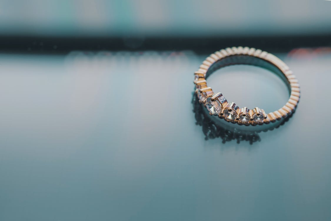 Gold-colored Diamond Engagement Ring