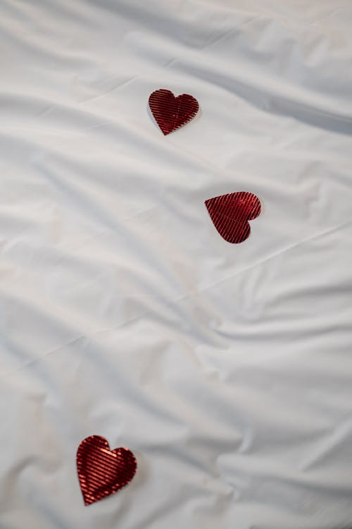 Hearts on White Cloth