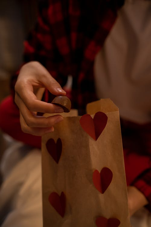 Paper Bag Decorated with Hearts for Valentines Day