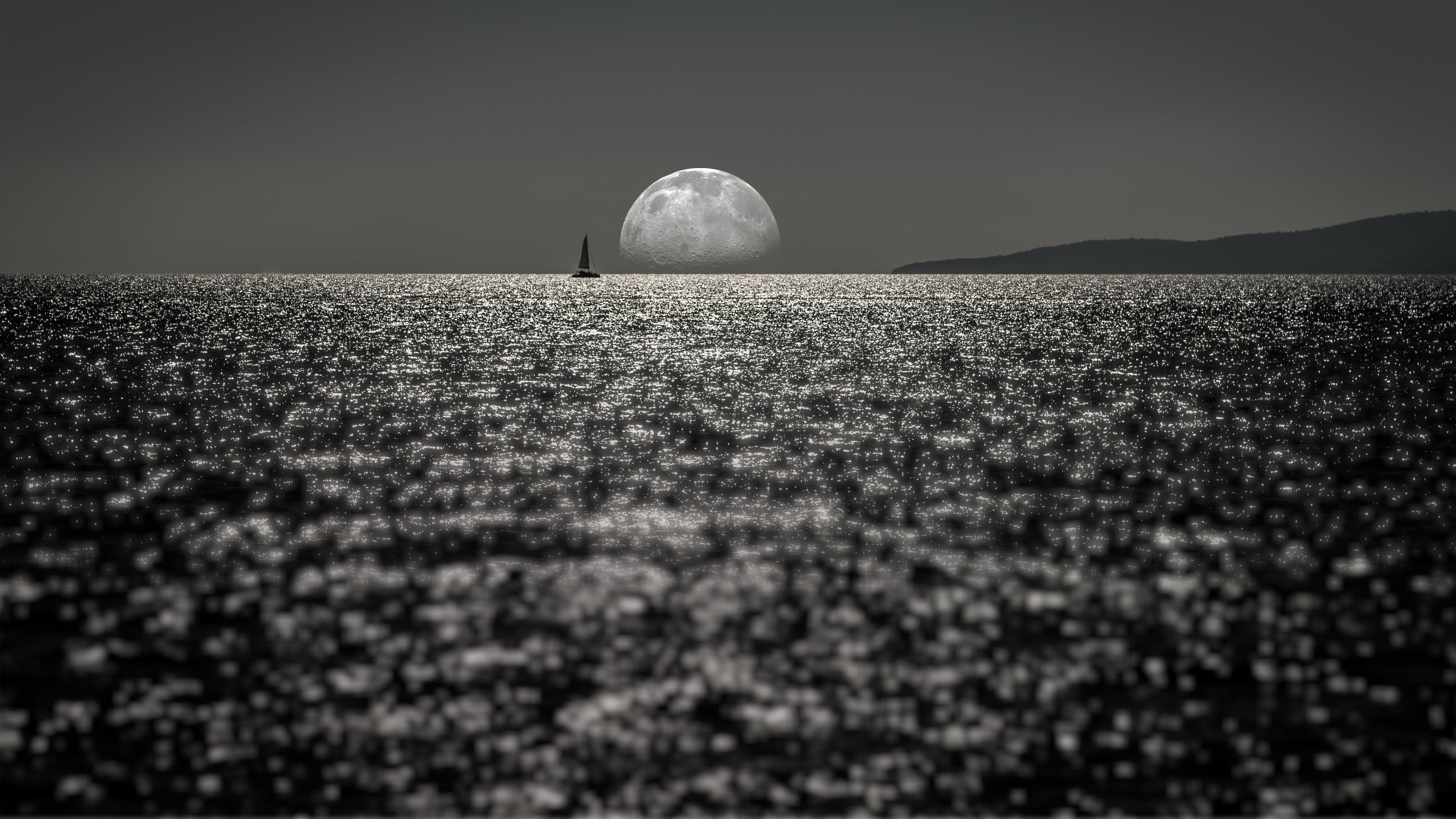 Free stock photo of by the sea, desktop wallpaper, half moon, light and shadow
