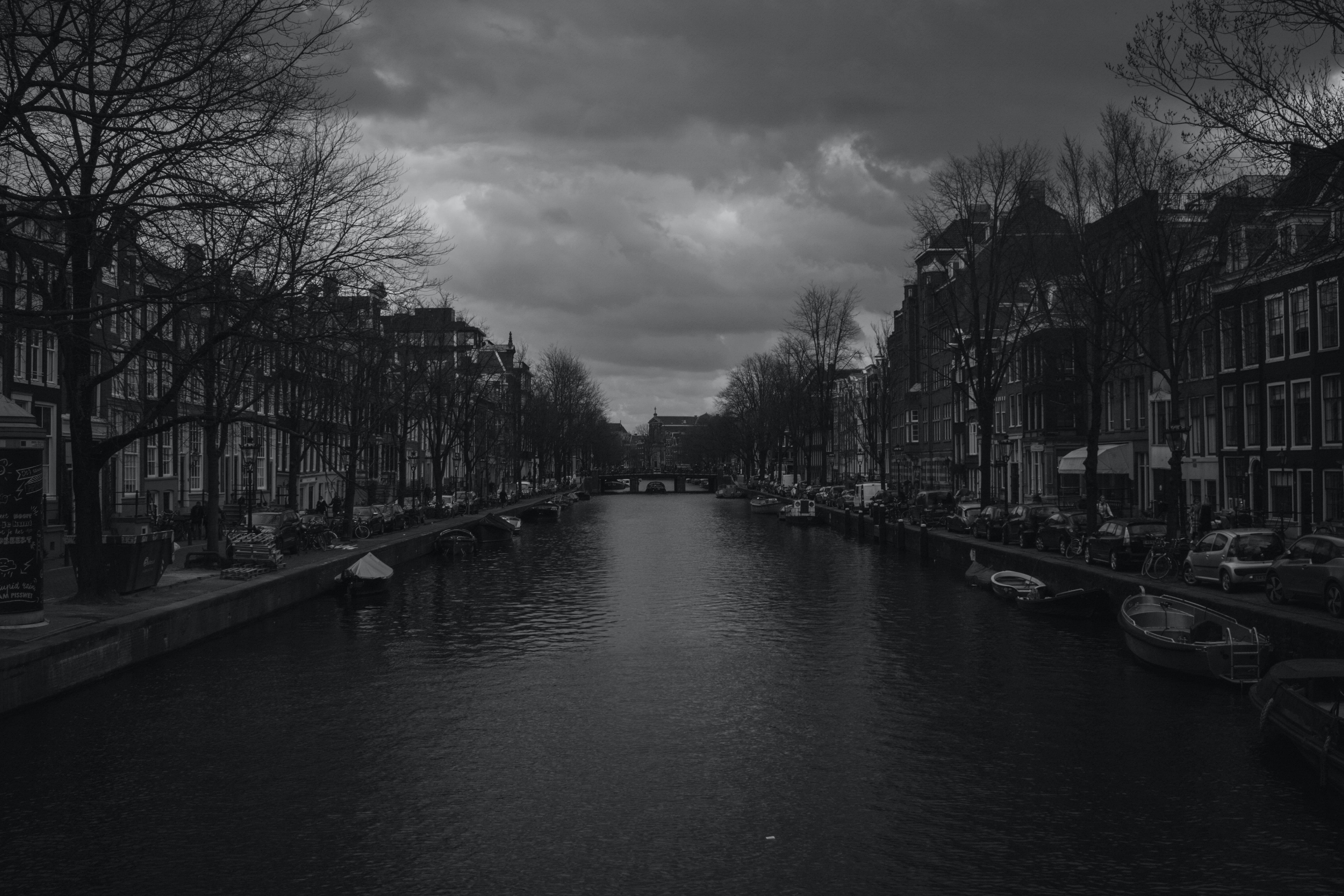 Grayscale Photography of River Near Buildings
