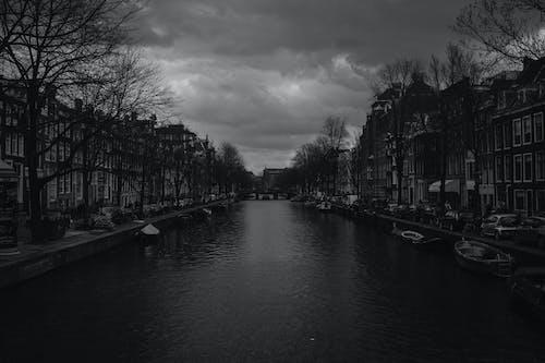 Základová fotografie zdarma na téma Amsterdam, architektura, budovy, černobílý