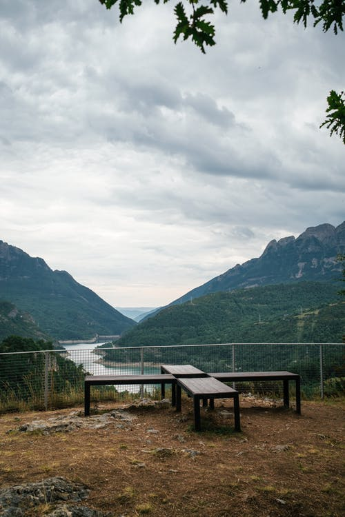 Scenic Viewpoint Overlooking River Meandering between Mountains
