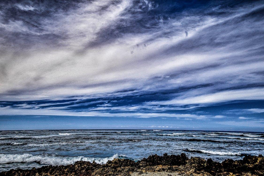 bølger, fredelig, hav