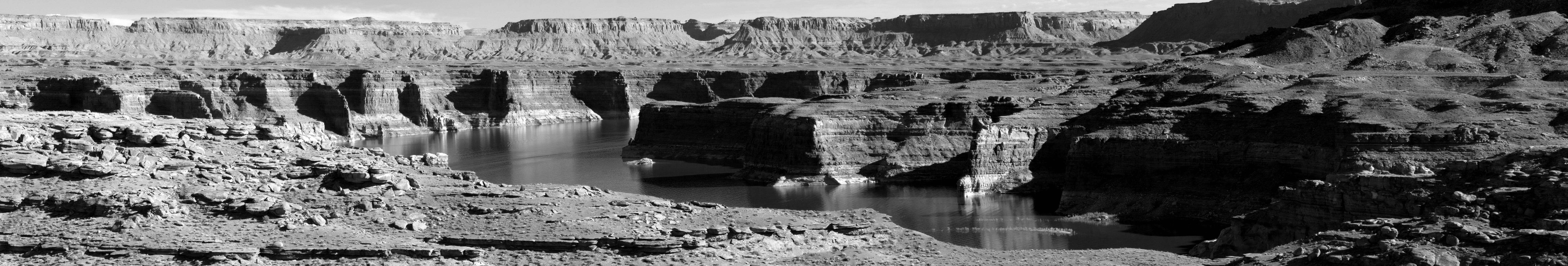 Grayscale Photo Of Canyon
