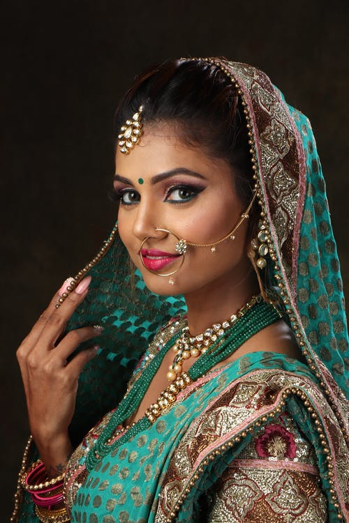 Woman Wearing Green, Brown, and Pink Sari Dress Portrait Photograph