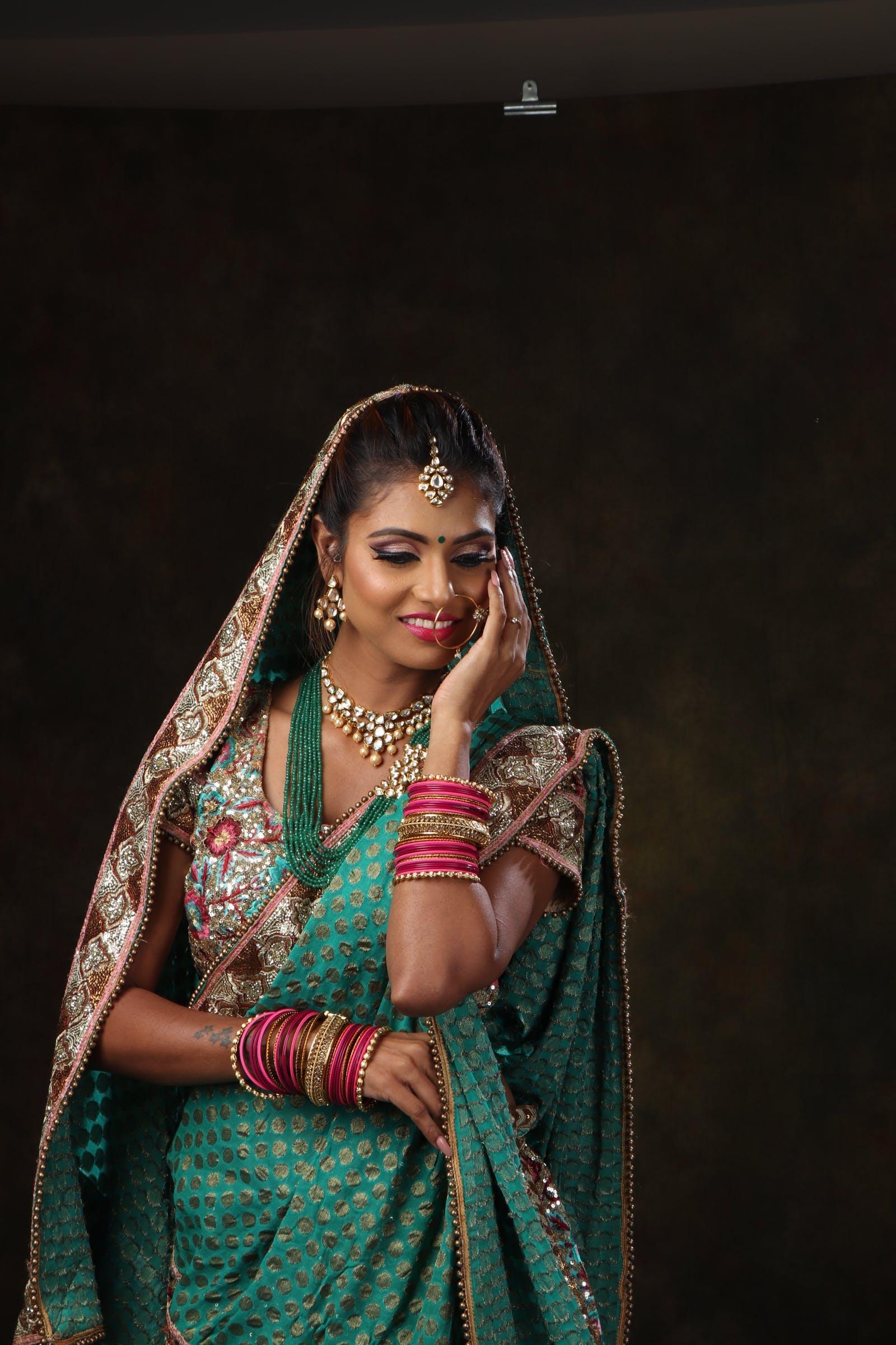Woman In Green Sari Dress