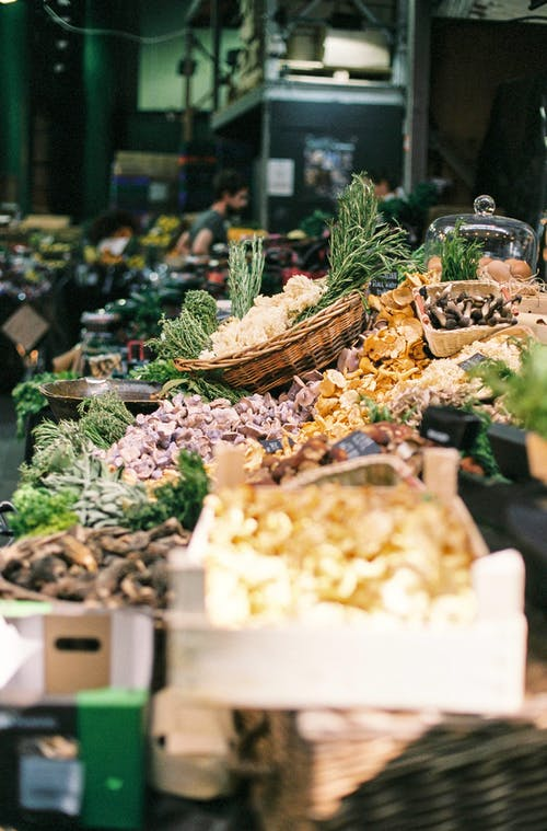Vegetables and Mushrooms at Market Stall