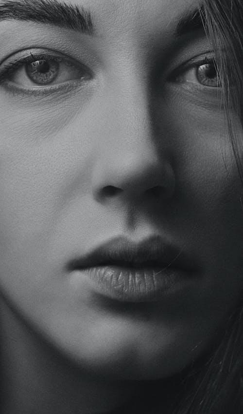 красивая, лицо, монохромный 的 免費圖庫相片