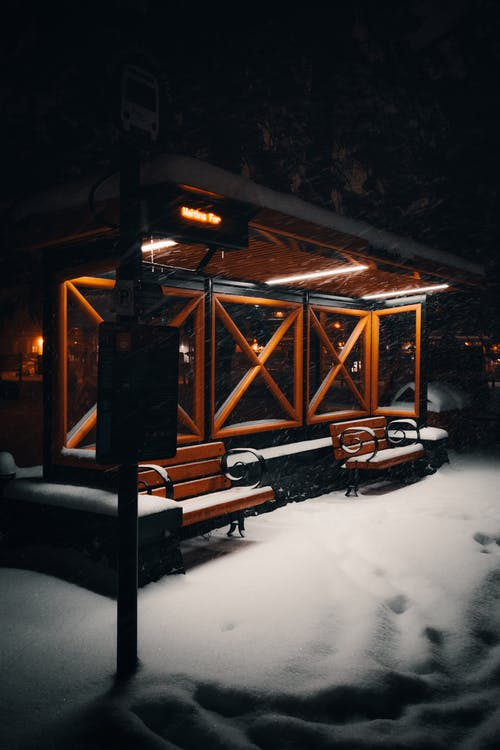 Bus Stop in Snow