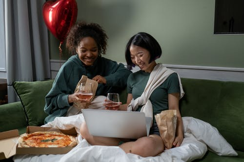 Women Watching Movie on Valentines Day