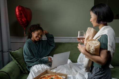 Women Preparing for Watching Movie