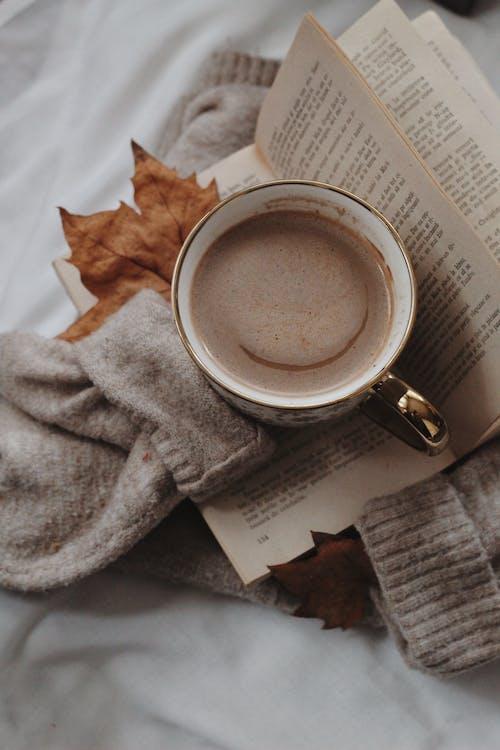 Foto stok gratis Book, cangkir kopi, daun