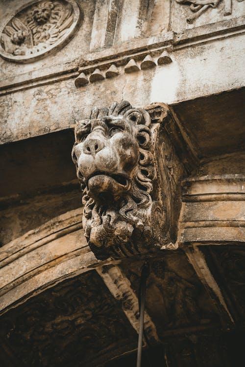 Gray Concrete Lion Statue on Brown Concrete Building