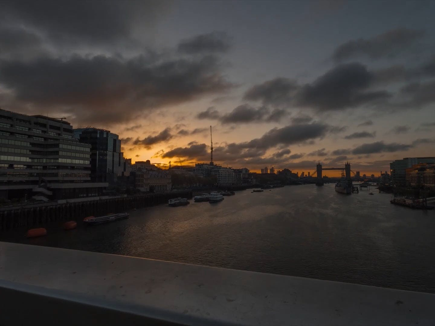 Time Lapse Footage Of Sunset And London Bridge
