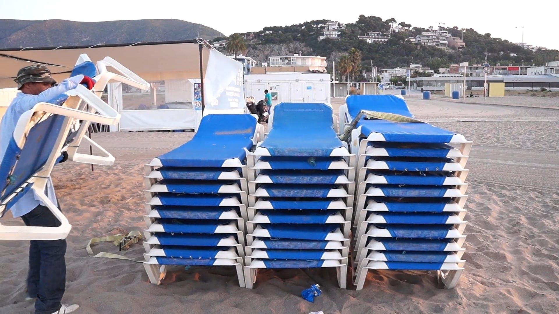 Blue Beach Lounge Chairs