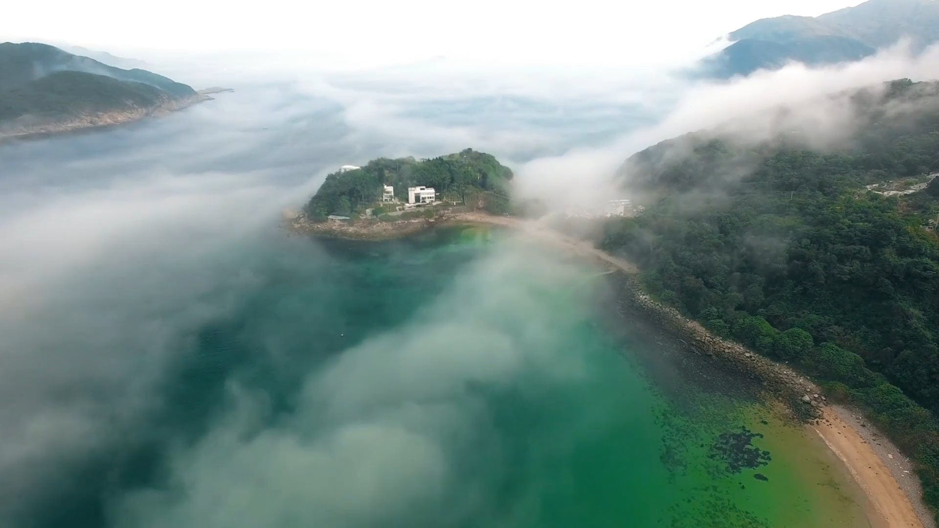 Drone Footage Of Foggy Island