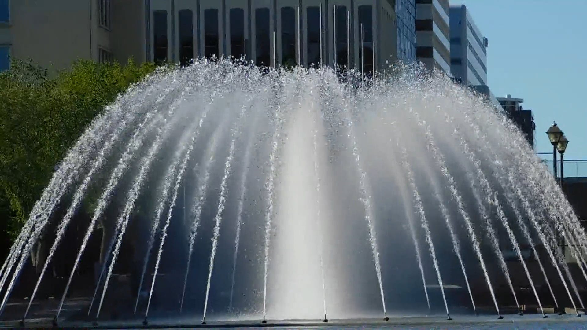 Close-Up Of A Huge Water Fountain