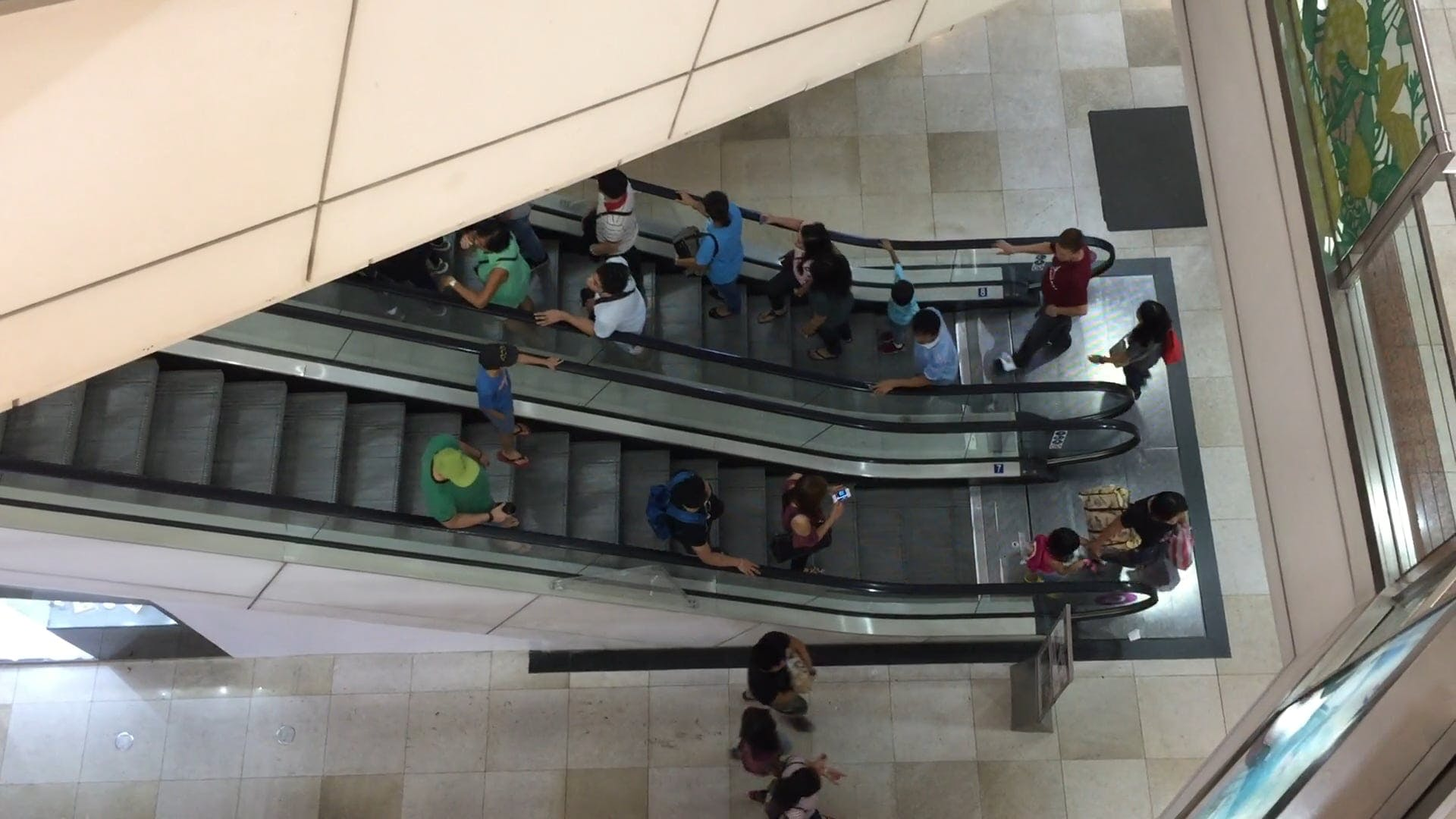 People Using Escalators In The Mall