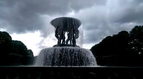 A Beautiful Fountain In The Park