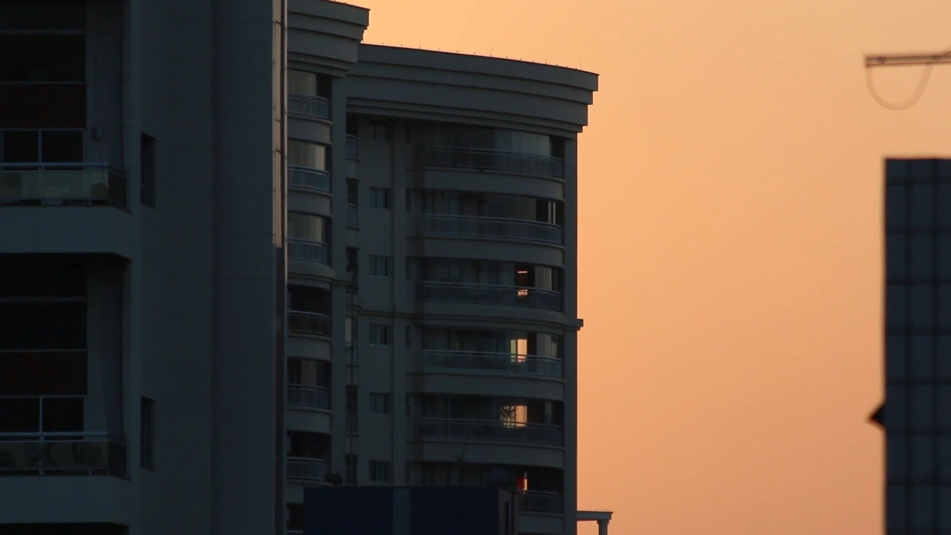 View Of Sunset And Building