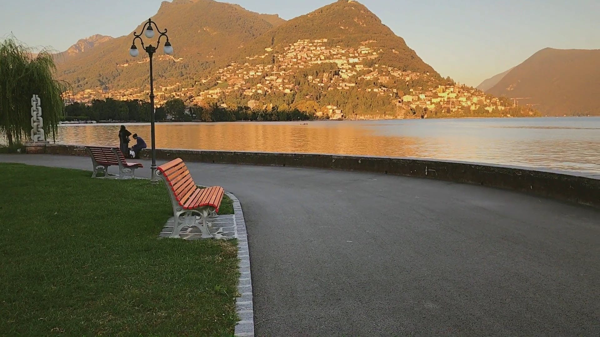 Park With A View Of The Lake And Mountains