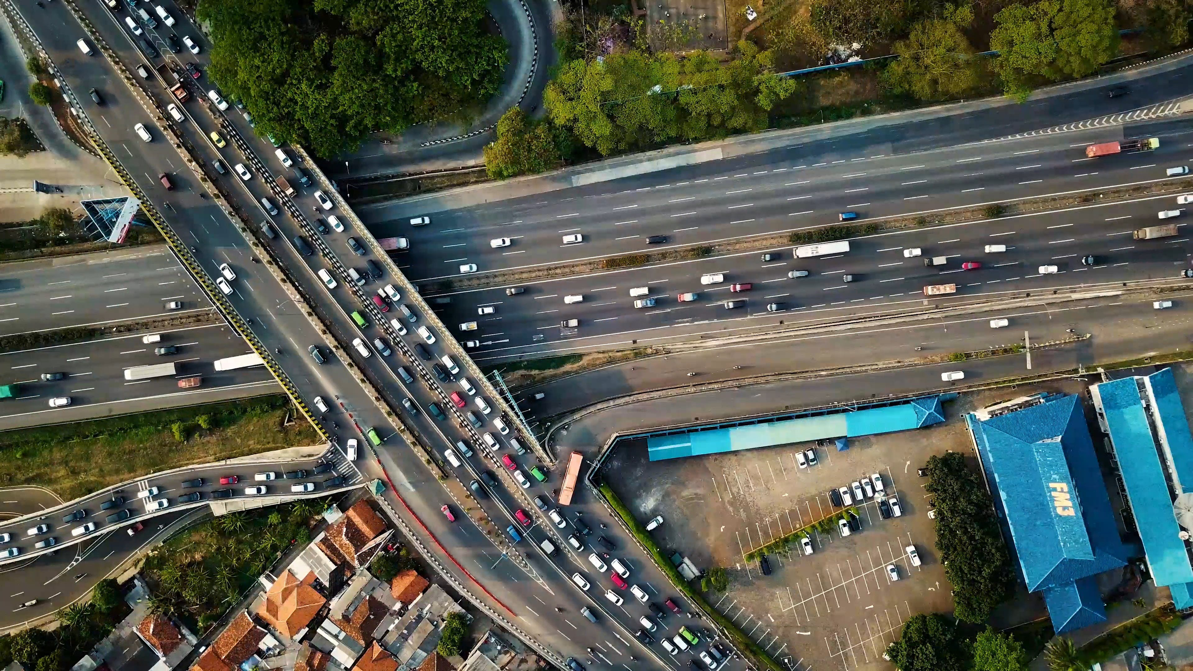 Aerial View Of A Busy Freeway
