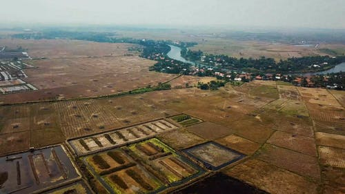 Aerial View Of An An Agricultural Land