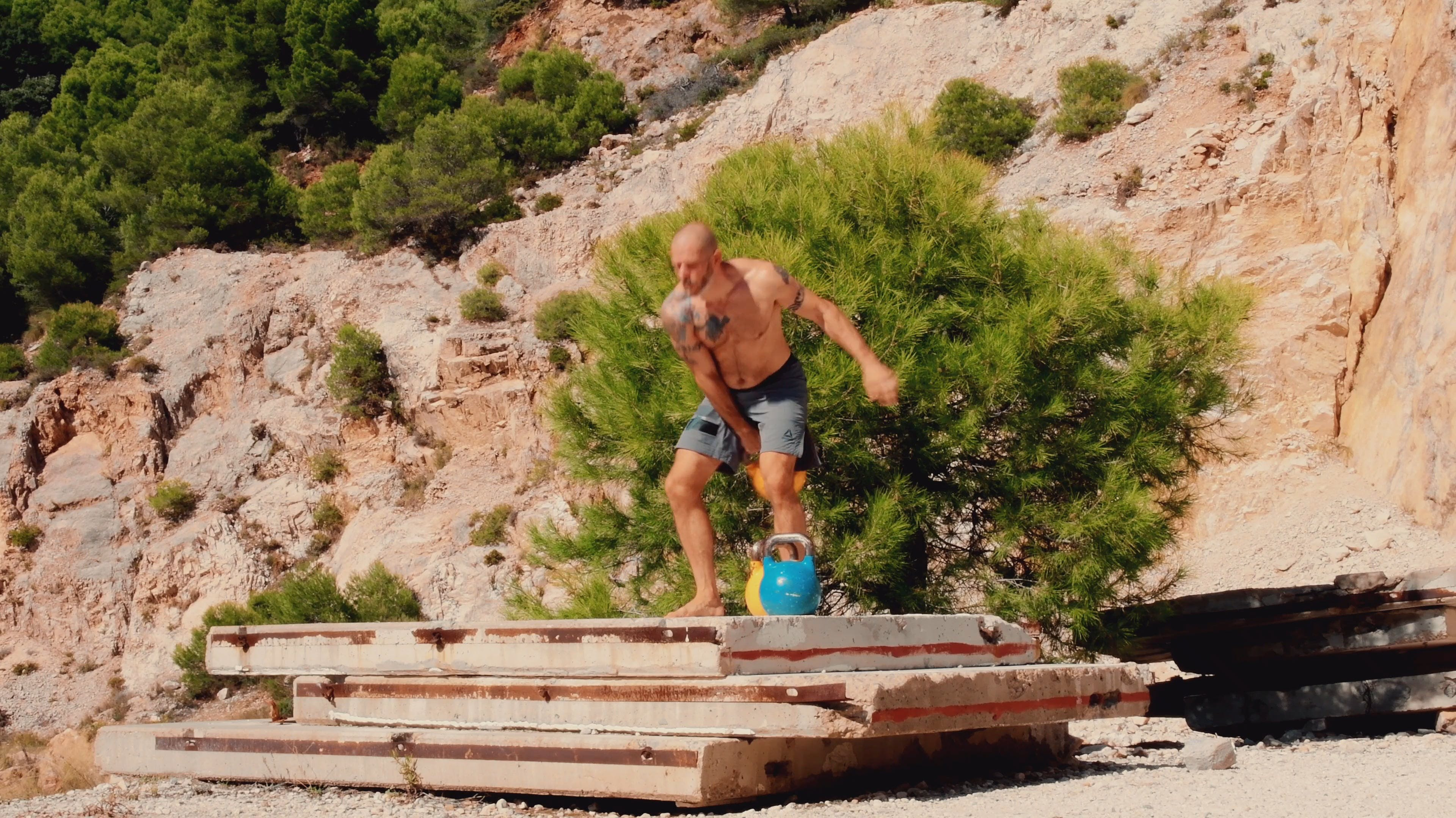 Man Doing Exercises By Lifting