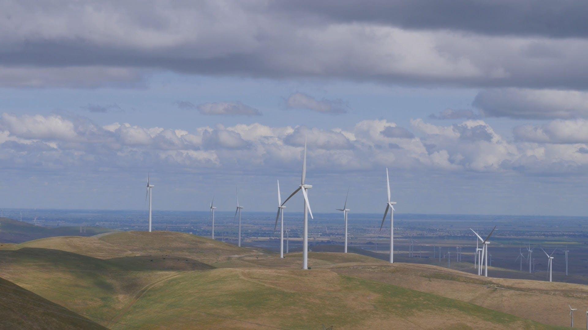 A Beautiful View Of Wind Turbines