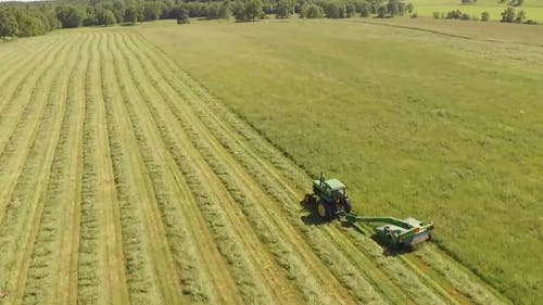 Tractor Cutting Grass In The Field