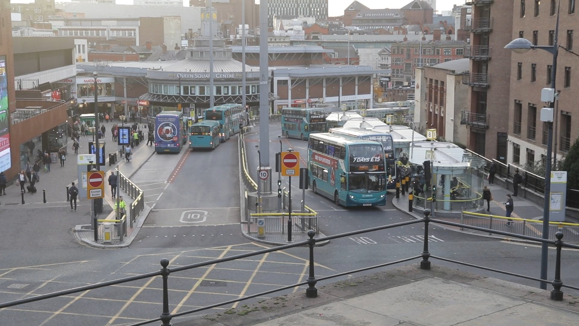 A View Of City And Public Buses