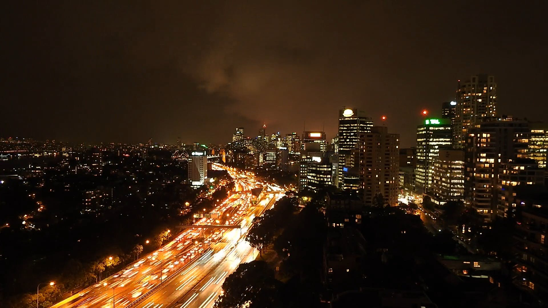 View Of City In Timelapse Mode