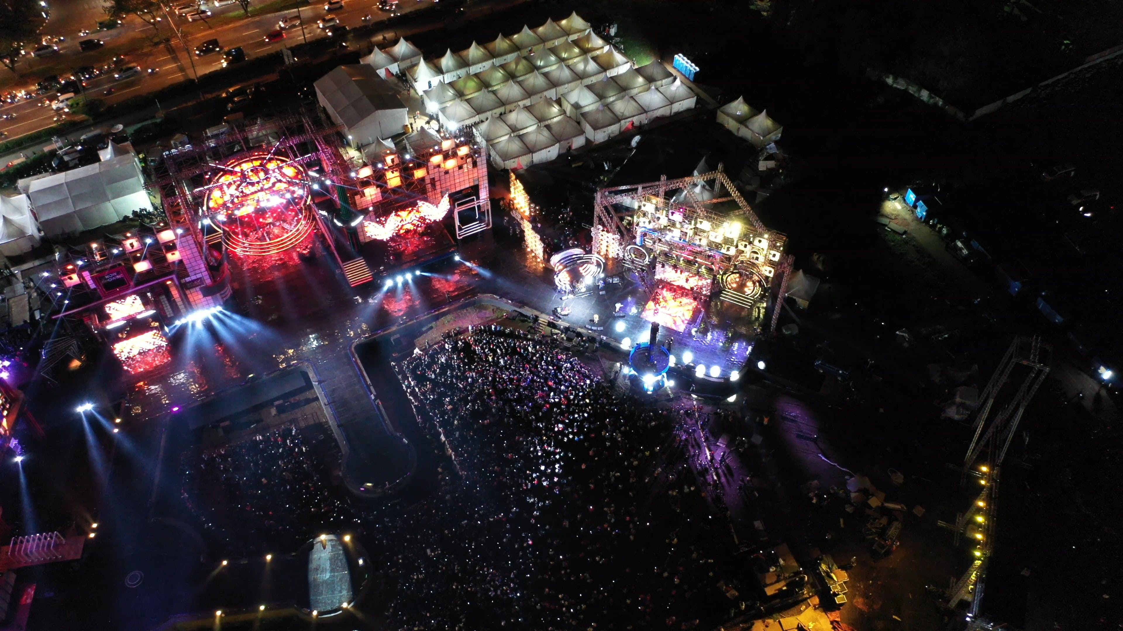 Aerial View Of People Watching A Concert