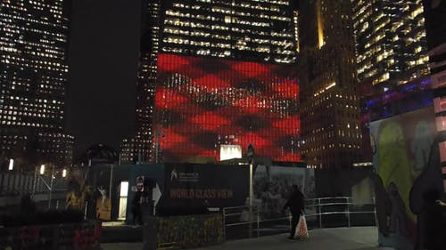 City Building With Illuminated Billboard