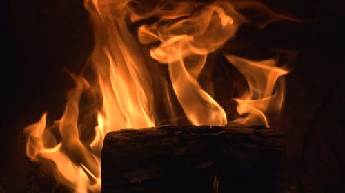 Close-Up View Of A Burning Firewood
