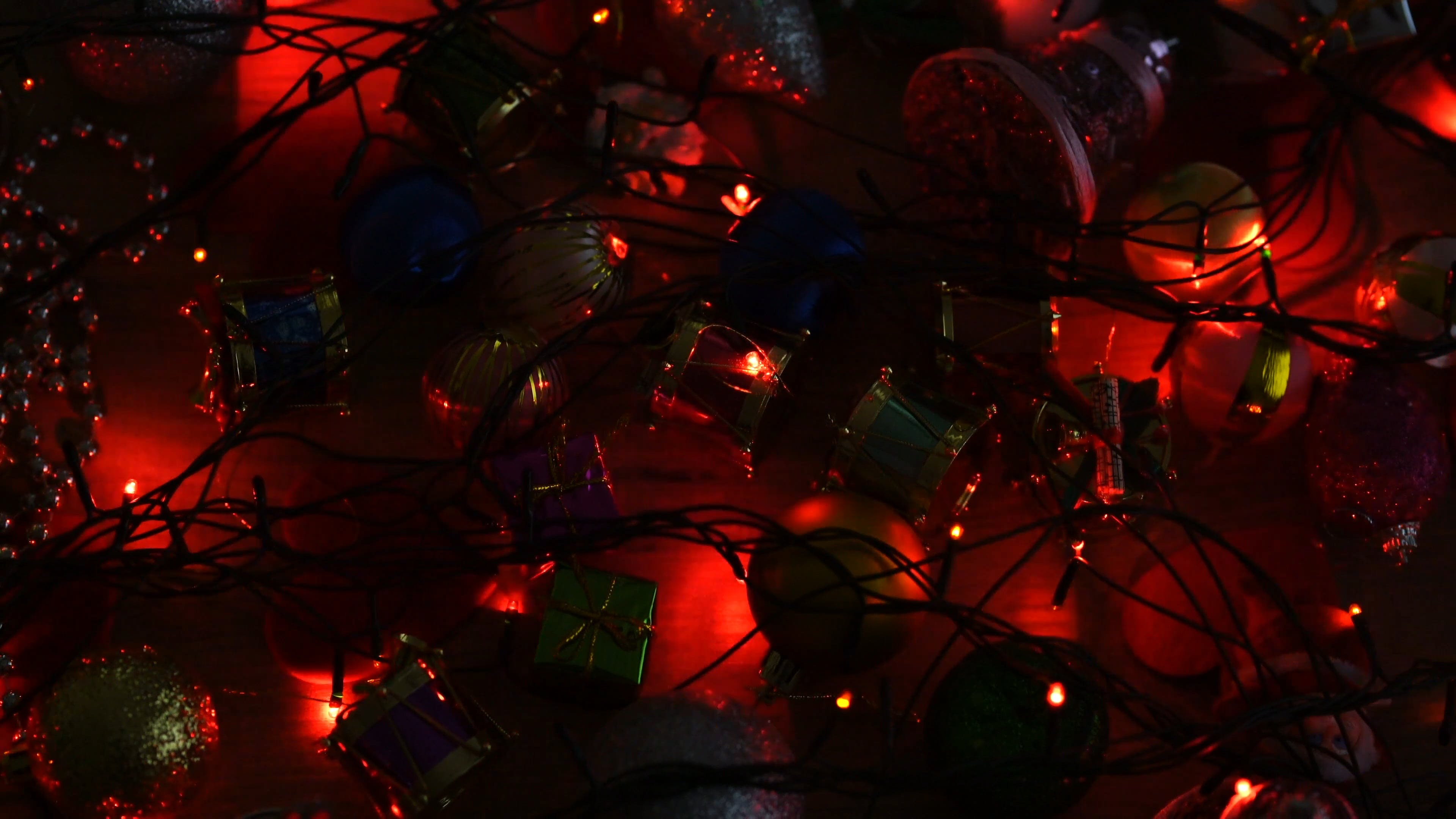 Christmas Ornaments And Dancing Lights
