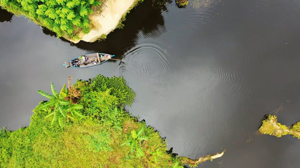 Aerial View Of A Boat Sailing