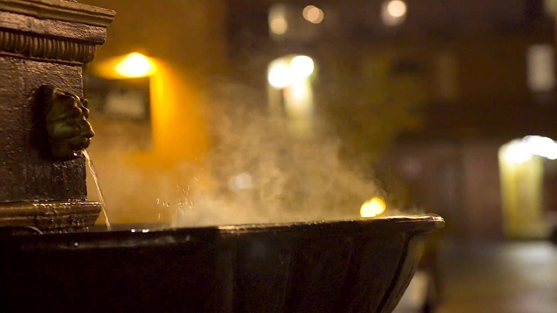 Fountain With Steaming Hot Water
