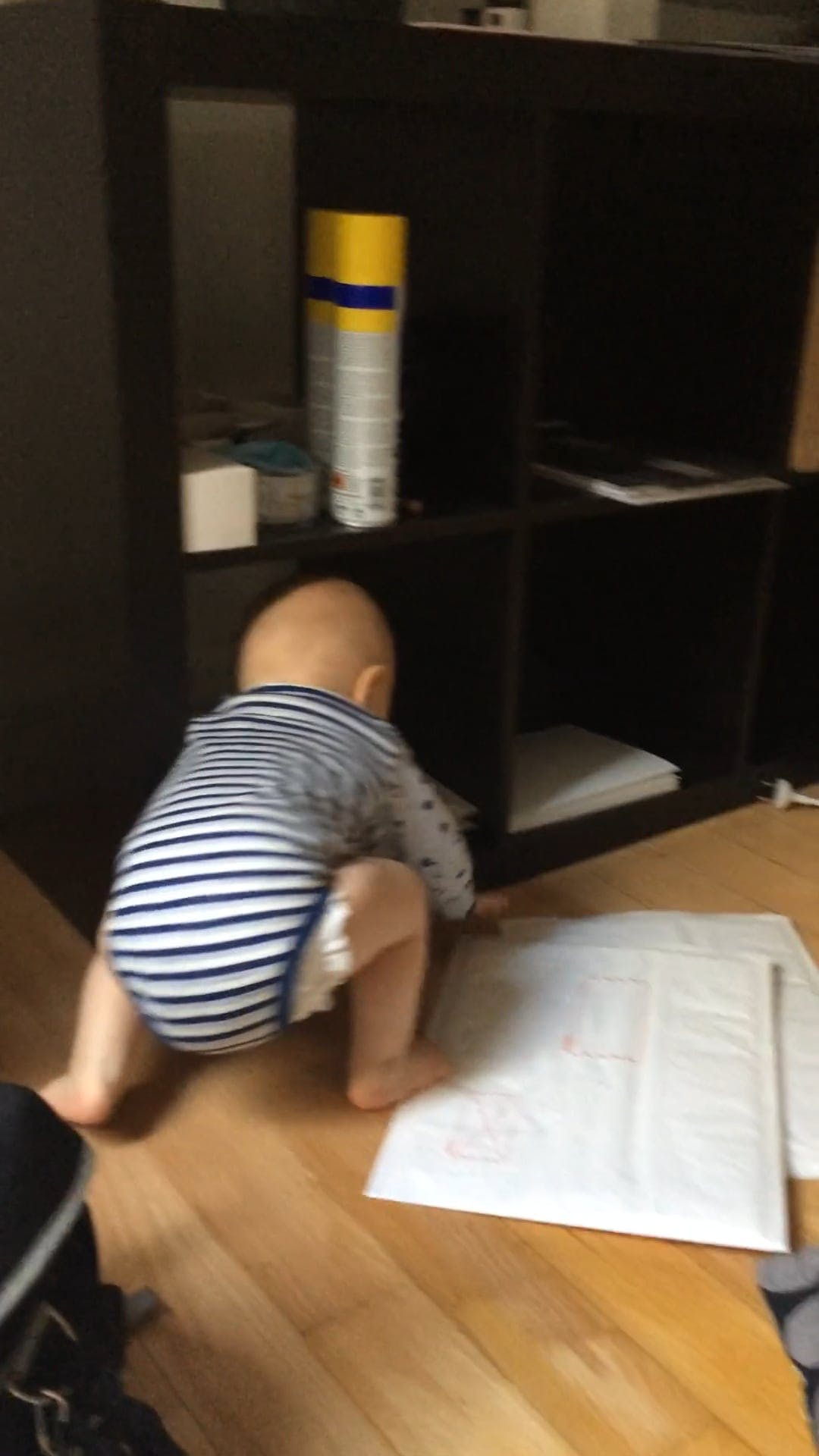Little Boy Crawling and Playing Inside The House